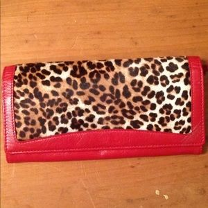 Tusk wallet animal print red leather
